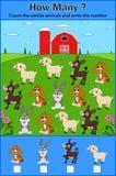 Utbildning som räknar leken av djur för förskole- barn royaltyfri illustrationer