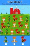 Utbildning som räknar leken av djur för förskole- barn stock illustrationer