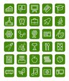 Utbildning symboler, linjär vit översikt, grön bakgrund Arkivbild