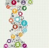 Utbildning tillbaka till färgrika symboler för skola. Royaltyfri Fotografi