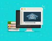 Utbildning via online-videoen på datorvektorillustrationen, den skrivbords- PC:n för plan tecknad film och videopp webinar kurser stock illustrationer