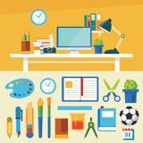 Utbildnings- och för design för utrustningbanerlägenhet mall stock illustrationer