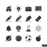 Utbildnings- och skolasymboler ställde in - vektorillustrationen Arkivfoto