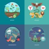 Utbildnings- och vetenskapsbegreppsillustrationer Botanik, zoologi, oceanografi och ufology Vetenskap av liv och ursprung av art Royaltyfria Bilder