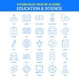 Utbildnings- och vetenskapssymboler - packe Futuro blå för 25 symbol stock illustrationer