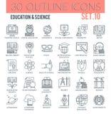 Utbildnings- & vetenskapssymboler Arkivfoto