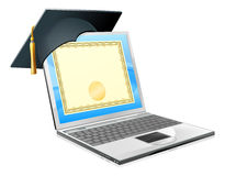 Utbildningsbärbar datorbegrepp Arkivbild