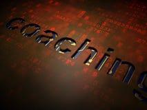 Utbildningsbegrepp: Coachning på digital skärmbakgrund arkivfoto