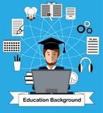 Utbildningsbegrepp med högstadiumstudent- och utbildningssymboler Royaltyfri Fotografi
