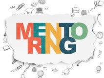 Utbildningsbegrepp: Mentoring på sönderrivet papper Arkivfoto