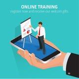 Utbildningsbegreppsonline-utbildning Plana isometriska designbegrepp för online-utbildning, online-utbildningskurser, personal stock illustrationer