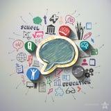 Utbildningscollage med symbolsbakgrund Arkivbild