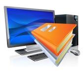 Utbildningsbokar e-lärande datoren begrepp Fotografering för Bildbyråer
