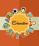 Utbildningsetikett tillbaka till skolasymboler. vektor illustrationer