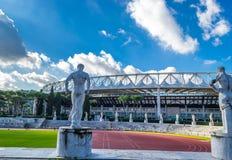 Utbildningsjordning på den Olympico stadionen Rome, Italien Royaltyfri Bild