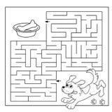 Utbildningslabyrint eller labyrintlek för förskole- barn Pussel Färga sidaöversikten av hunden med benet Färgläggningbok för unga Arkivbild