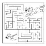 Utbildningslabyrint eller labyrintlek för förskole- barn Pussel Färga sidaöversikten av katten med sländan Arkivfoto