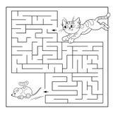 Utbildningslabyrint eller labyrintlek för förskole- barn Pussel Färga sidaöversikten av katten med leksakmusen Arkivfoton