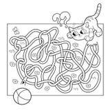 Utbildningslabyrint eller labyrintlek för förskole- barn Pussel Tilltrasslad väg Färga sidaöversikten av katten med bollen Fotografering för Bildbyråer