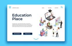 Utbildningslandningsida Isometriskt folk som lär med ebookssmatphones och bärbara datorer vektorrengöringsdukdesign vektor illustrationer