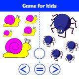Utbildningslogiklek för förskole- ungar Välj det korrekta svaret Mer, mindre eller jämbördig vektorillustration Djurbilder för K Royaltyfria Bilder