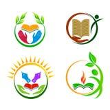 Utbildningsomsorglogoer stock illustrationer