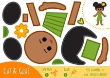 Utbildningspapperslek för barn, afrikansk amerikanflicka vektor illustrationer