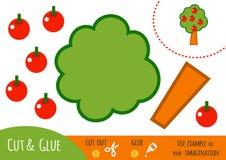 Utbildningspapperslek för barn, Apple träd vektor illustrationer