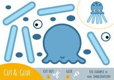 Utbildningspapperslek för barn, bläckfisk royaltyfri illustrationer