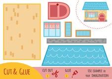 Utbildningspapperslek för barn, hus royaltyfri illustrationer