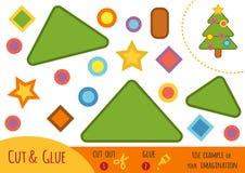 Utbildningspapperslek för barn, julgran vektor illustrationer