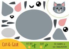 Utbildningspapperslek för barn, katt royaltyfri illustrationer