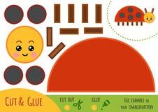 Utbildningspapperslek för barn, nyckelpiga stock illustrationer