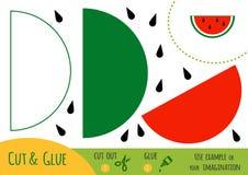 Utbildningspapperslek för barn, vattenmelon vektor illustrationer
