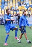 Utbildningsperiod av Ukraina det nationella fotbollslaget i Kyiv Royaltyfri Foto