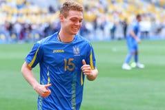 Utbildningsperiod av Ukraina det nationella fotbollslaget i Kyiv Royaltyfria Bilder