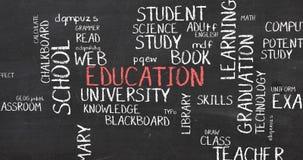 Utbildningsskolan och utbildningsordet fördunklar typografianimering Royaltyfria Bilder