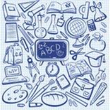 utbildningsskolaseten skissar Arkivbilder