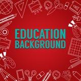 Utbildningsskolatillförsel fodrade bakgrund för banret för gränsen för symbolsmaterialfyrkanten röd arkivfoton