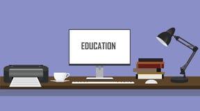 Utbildningsskrivbordet med datoren för skrivarbildskärmPC:n bokar och lampan stock illustrationer