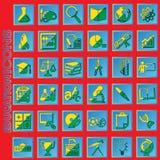 Utbildningssymboler för gul och grön färg i blått kvadrerar Royaltyfri Bild