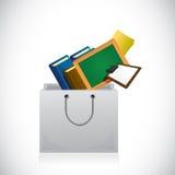 Utbildningssymboler inom en shoppingpåse Arkivbilder