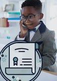 Utbildningssymboler mot kontor lurar pojken som talar på telefonbakgrunden Fotografering för Bildbyråer