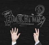 Utbildningssymboler på svart tavla Arkivbilder