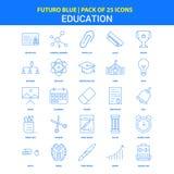 Utbildningssymboler - packe Futuro blå för 25 symbol stock illustrationer