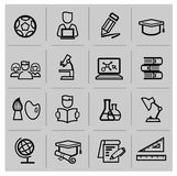 Utbildningssymboler, tecken, vektorillustrationuppsättning Arkivbild