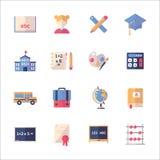 Utbildningssymbolsuppsättning 1 - plan serie Fotografering för Bildbyråer
