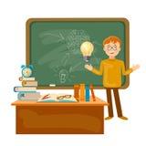 Utbildningstidskolpojke i en skolförvaltning tillbaka till skolan Arkivbild