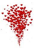 Utbrott av hjärtor, hjärtasymboler för valentin dag Arkivfoton