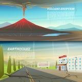 Utbrott för aktiv vulkan med gisten magmabakgrund naturkatastrof eller katastrof jordskalv med jordsprickan royaltyfri illustrationer